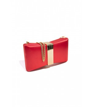 Nenette clutch in raso corallo umbrella