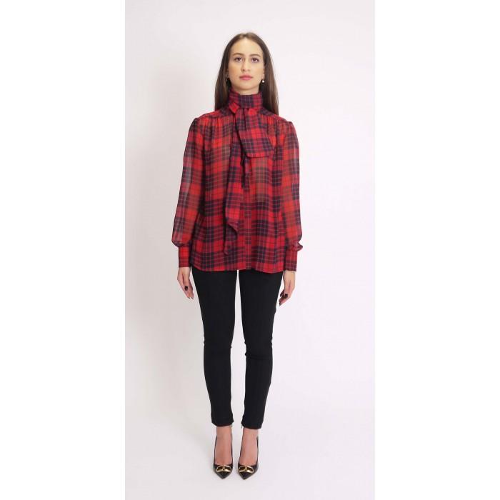 Olla Pareg camicia fiocco check rosso e nero CA310