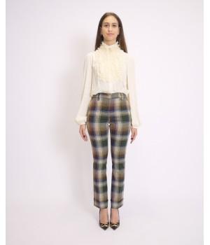 Olla Pareg pantaloni check verde P6860